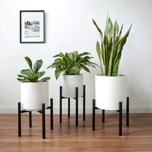 Nordic Style Iron Adjustable Plant Stand (EXCLUDING White Planter Pot)
